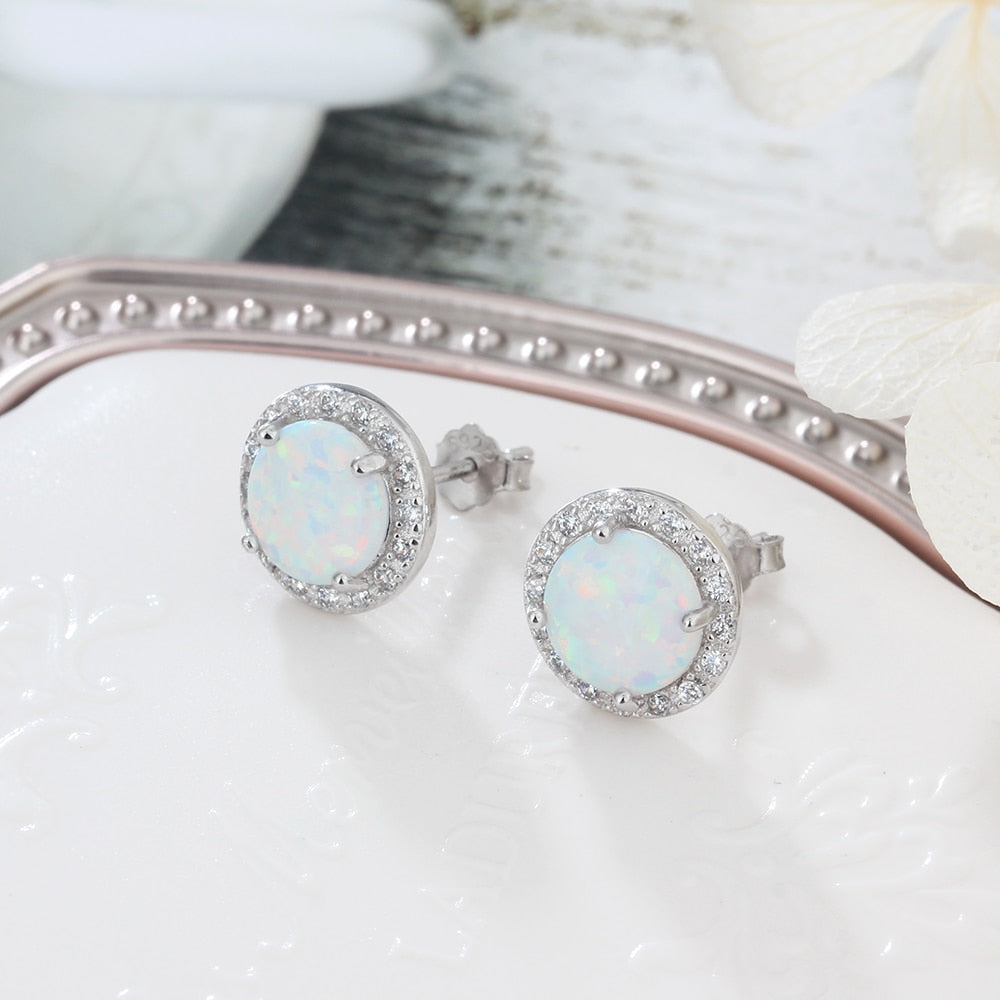 Classic 925 Sterling Silver Stud Opal Earrings with Cubic Zirconia