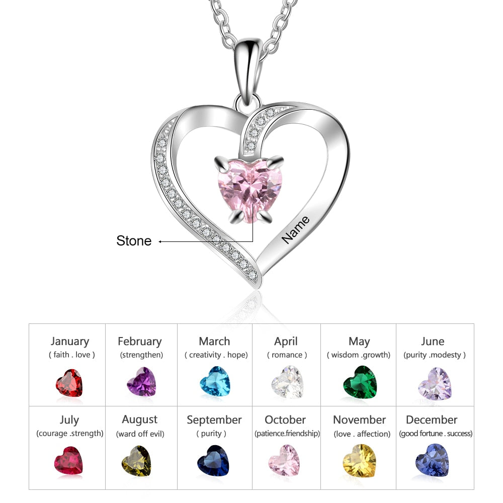 Personalized Cubic Zirconia Stone Charm Necklace with Custom Birthstone