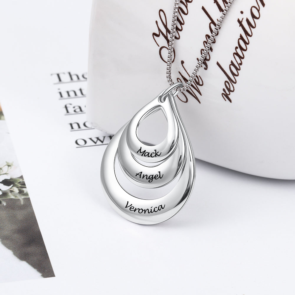 Personalized Water Drop Family (Engraved 3 Name) Necklace