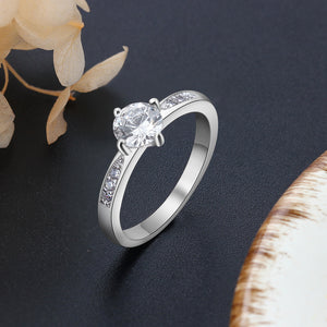 925 Sterling Silver Simple Style Cubic Zircon Ring