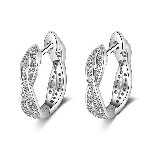 Classic 925 Sterling Silver Hoop with Cubic Zirconia Twisted Earrings