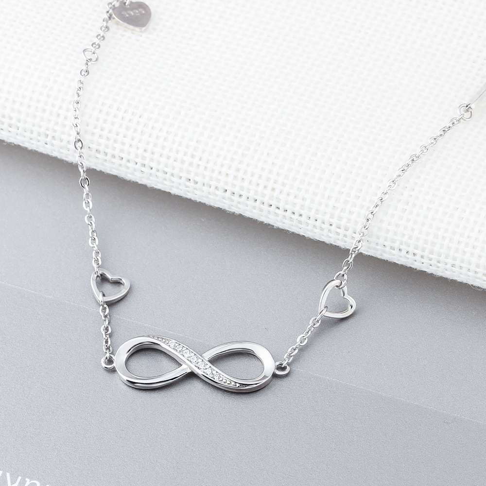 925 Sterling Silver Infinity with Cubic Zirconia Chain Bracelet