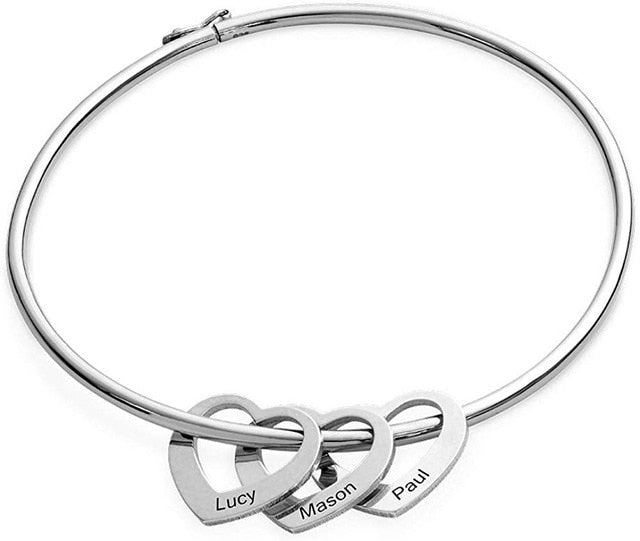 Personalized Bracelet Bangle with 2-6 Heart Charms with Custom Names
