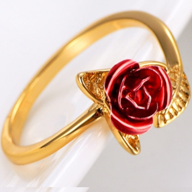 Rose Flower Adjustable Open Leaf Ring