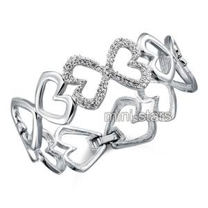 Bridal Bridesmaid Pageant Heart Bangle use Austrian Crystal XB140