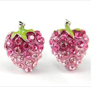 Pink Strawberry Stud Earrings use Swarovski Crystal XE014