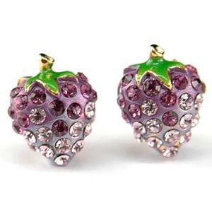 Purple Strawberry Stud Earrings use Swarovski Crystal XE015