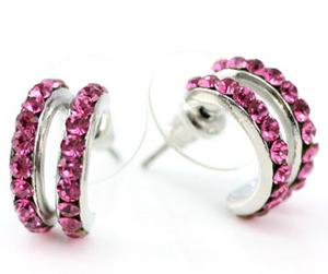 Pink Huggie Earrings use Swarovski Crystal XE018