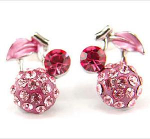 Pink Cherry Stud Earrings use Swarovski Crystal XE020