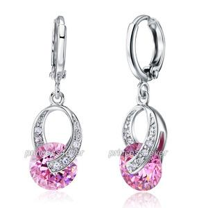 Dangle 2 Carat Pink Created Sapphire Earrings XE167