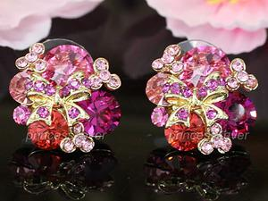 Pink Flower Ribbon Earrings use Swarovski Crystal XE454