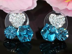 Sparkling Heart Blue Cube Earrings use Swarovski Crystal XE458