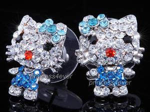 Blue Kitty Earrings use Austrian Crystal XE462