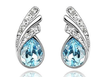 1.5 Carat Aqua Blue Pear Cut Stone Earrings XE470