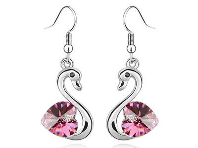 3 Carat Pink Dangle Swan Earrings use Austrian Crystal XE475