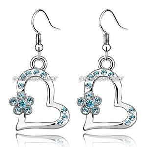 Aqua Blue Dangle Heart Flower Earrings use Austrian Crystal XE481
