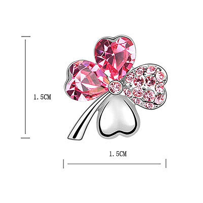 4 Leaf Clover Flower Hot Pink Earrings use Austrian Crystal XE517