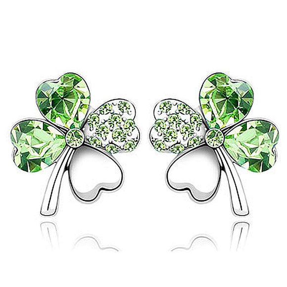 4 Leaf Clover Flower Green Earrings use Austrian Crystal XE518