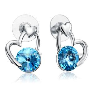 5 Carat Heart Stud Earrings use Blue Austrian Crystal XE592