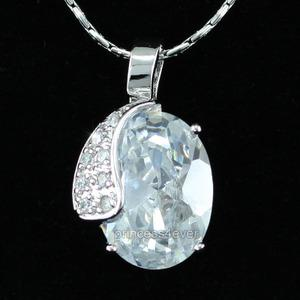8 Carat Oval Cut CZ Created Diamond Pendant & Necklace XN304
