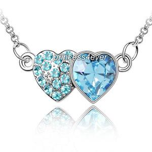 Aqua Blue Double Heart Necklace use Austrian Crystal XN322