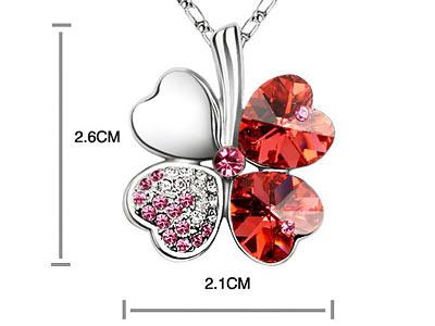 Red 4 Leaf Clover Flower Heart Love Necklace use Swarovski Crystal XN329