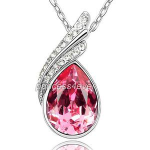 5 Carat Pear Cut Hot Pink Necklace use Austrian Crystal XN336