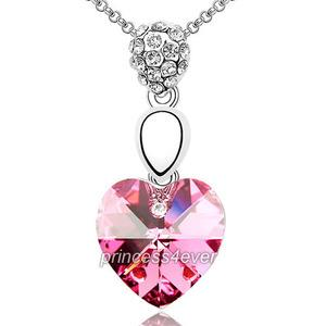 6 Carat Pink Heart Necklace use Austrian Crystal XN342
