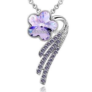 Dangle Purple Flower Necklace use Austrian Crystal XN349