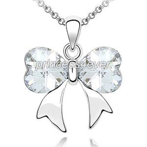 6 Carat Stone Ribbon Heart Necklace use Swarovski Crystal XN352