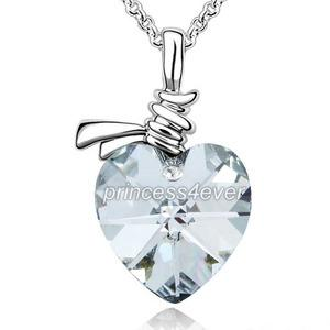 6 Carat Heart Stone Necklace use Austrian Crystal XN356