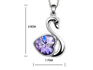 3 Carat Purple Heart Swan Necklace use Austrian Crystal XN365