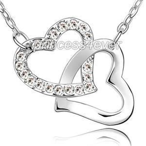 Double Heart Necklace use Austrian Crystal XN375