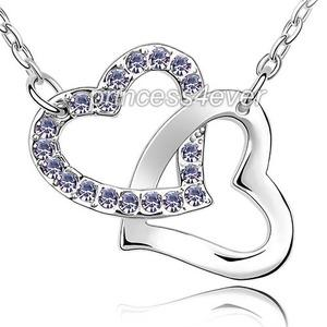 Double Purple Heart Necklace use Austrian Crystal XN377