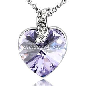 6 Carat Purple Heart Necklace use Austrian Crystal XN380