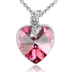 6 Carat Pink Heart Necklace use Austrian Crystal XN381