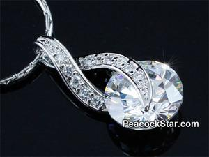 High Quality Spakling 3 Carats CZ Simulated Stone Pendant & Necklace XN399