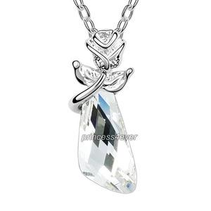 Silver Clear Crystal Flower Pandent Necklace use Swarovski Crystal XN417