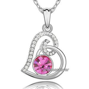 Pink Heart Pendant Necklace use Swarovski Crystal XN432