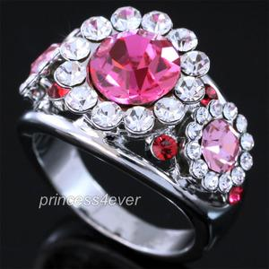 Pink Flower Ring use Swarovski Crystal XR176