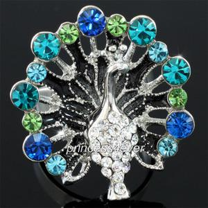 Blue Peacock Pageant Fashion Ring use Austrian Crystal XR178