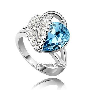 Blue Heart Pear Cut Ring use Austrian Crystal XR196