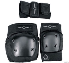 PROTEC - Street Pads 3 Pack Set BLACK - Junior Size Protective Gear (NEW)