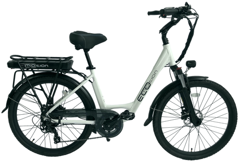 EcoMotion E-City Bike Electric Bicycle  White