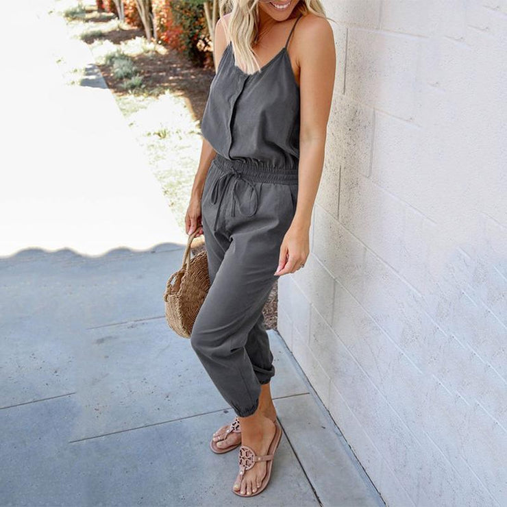 Women's Pocket Elastic Waist Rompers Jumpsuits & Rompers Women's Pocket Elastic Waist Rompers - Divinity-BoutiqueJumpsuits & Rompers