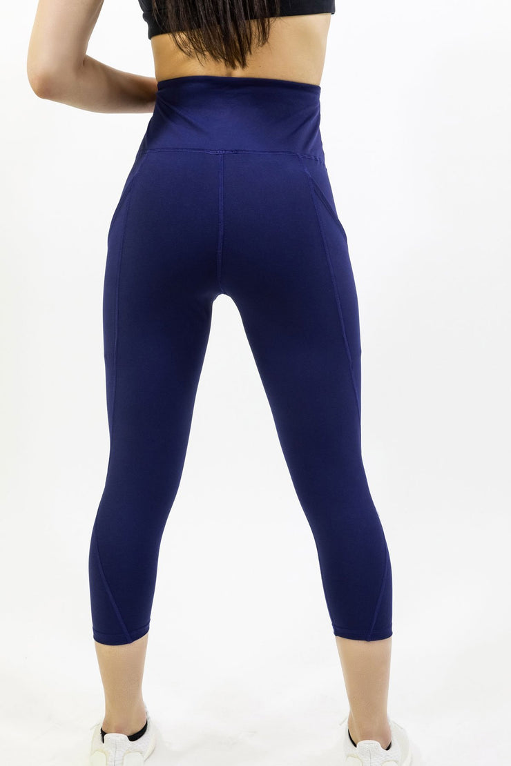 High Waisted Yoga Capri Leggings - Navy Blue Women's Clothing High Waisted Yoga Capri Leggings - Navy Blue - Divinity-BoutiqueWomen's Clothing