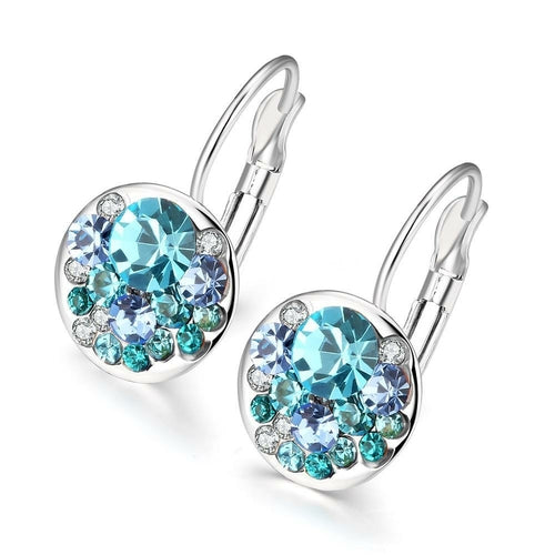Swarovski Crystal Sapphire Leverback Earring in 18K White Gold Plated Jewelry & Watches Swarovski Crystal Sapphire Leverback Earring in 18K White Gold Plated - Divinity-BoutiqueJewelry & Watches