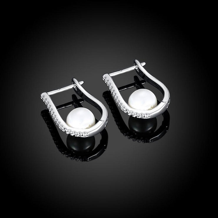 2.00 Ct Swarovski Crystal and Pearl Huggie Earring in 18K White Gold Jewelry & Watches 2.00 Ct Swarovski Crystal and Pearl Huggie Earring in 18K White Gold - Divinity-BoutiqueJewelry & Watches
