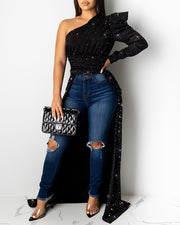 Adogirl Shining High Low Shirt Top Puff Long Tops & Blouses Adogirl Shining High Low Shirt Top Puff Long - Divinity-BoutiqueTops & Blouses