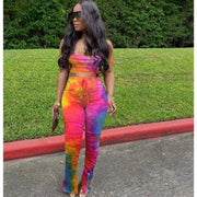 Colorful Women 2 Pieces Stacked Pants Tie Dye Print Matching Sets Colorful Women 2 Pieces Stacked Pants Tie Dye Print - Divinity-BoutiqueMatching Sets